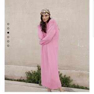 Zara Pink oversize sweater dress knit maxi midi